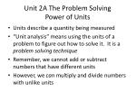 unit 2a the problem solving power of units