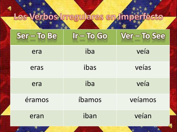 Los verbos irregulares en imperfecto