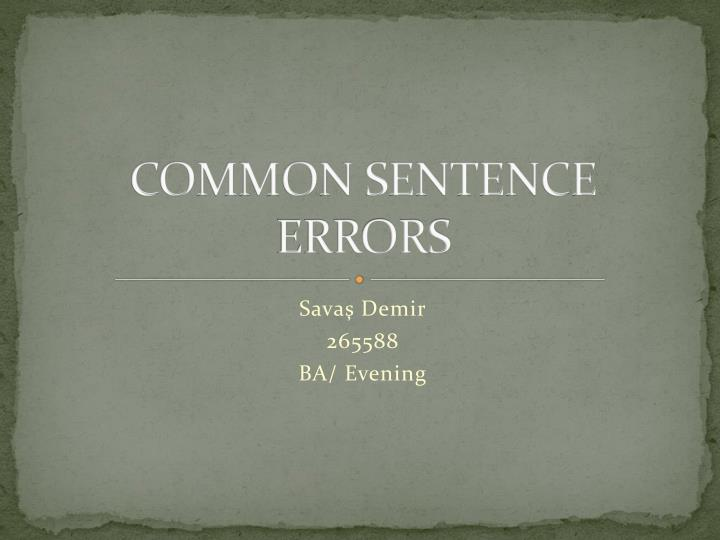 common sentence errors n.