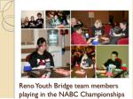 reno youth bridge team members playing in the nabc championships