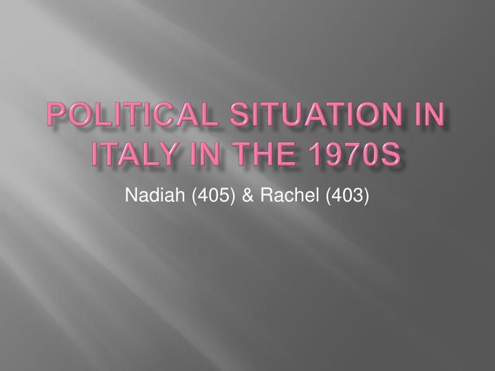 political situation in italy in the 1970s n.