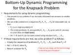 bottom up dynamic programming for the knapsack problem