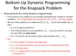 bottom up dynamic programming for the knapsack problem1