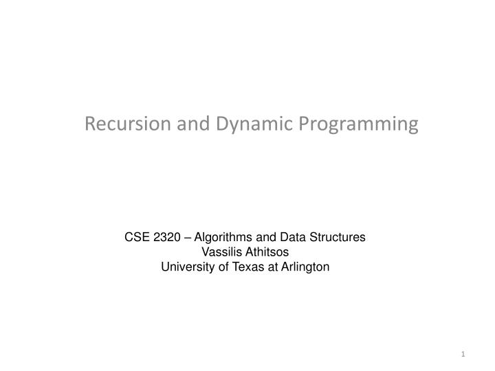 recursion and dynamic programming n.