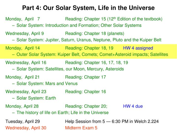 part 4 our solar system life in the universe n.