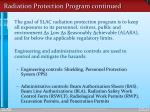 radiation protection program continued