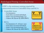 radiological posting controlled areas