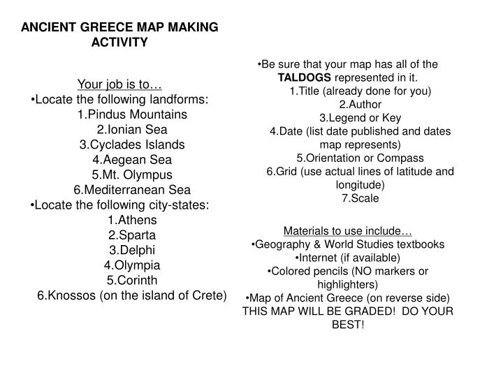 Ppt Ancient Greece Map Making Activity Your Job Is To Locate The