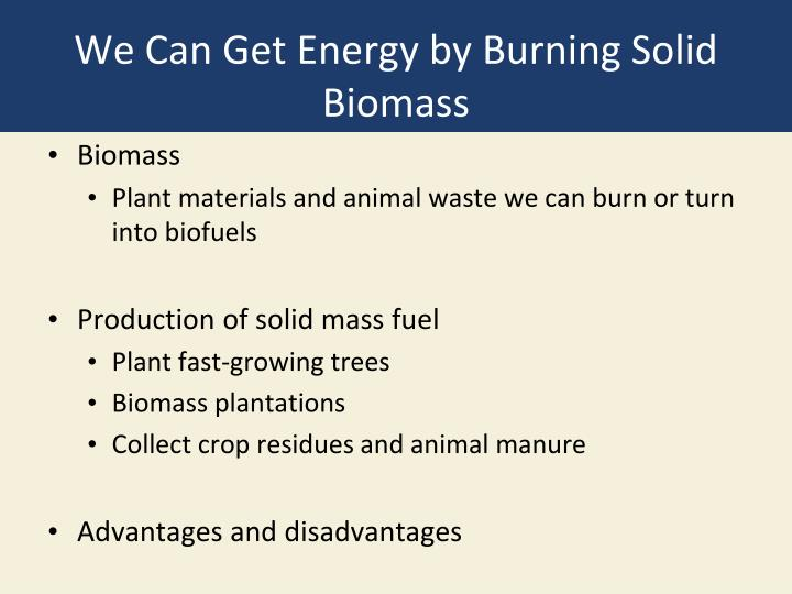 We Can Get Energy by Burning Solid Biomass