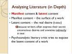 analyzing literature in depth