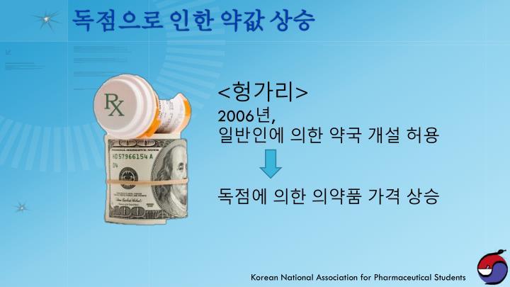 독점으로 인한 약값 상승