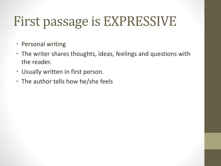 First passage is EXPRESSIVE