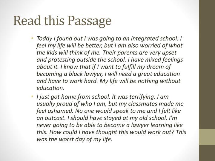 Read this Passage