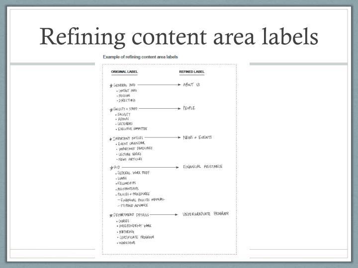Refining content area labels