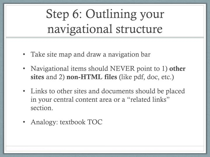 Step 6: Outlining your navigational structure