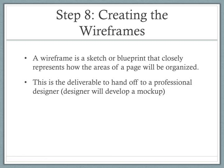 Step 8: Creating the Wireframes