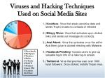 viruses and hacking techniques used on social media sites