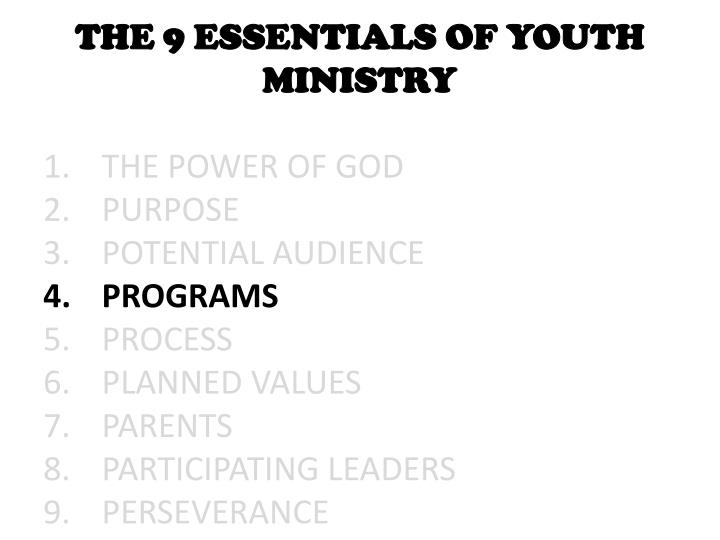 THE 9 ESSENTIALS OF YOUTH MINISTRY
