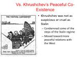 vs khrushchev s peaceful co existence