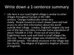 write down a 1 sentence summary