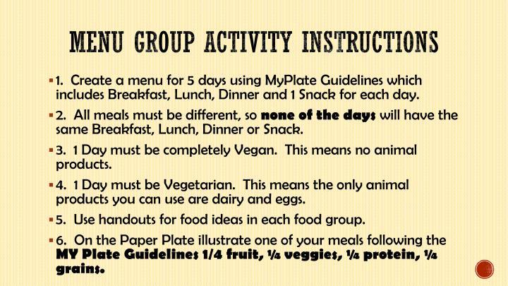 Menu group activity instructions