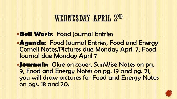 Wednesday april 2 nd