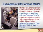 examples of off campus mqps