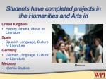 students have completed projects in the humanities and arts in