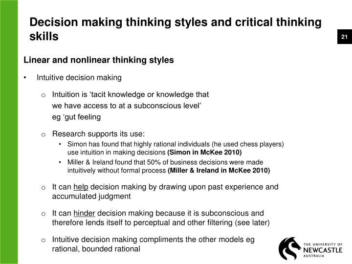 thinking styles in critical thinking Unhelpful thinking habits and cognitive distortions once you can identify your unhelpful thinking styles critical self.