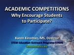 academic competitions why encourage students to participate