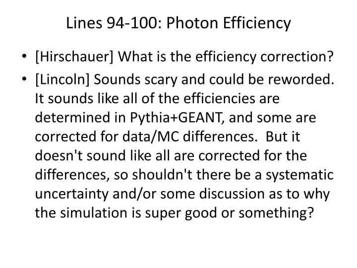 Lines 94-100: Photon Efficiency