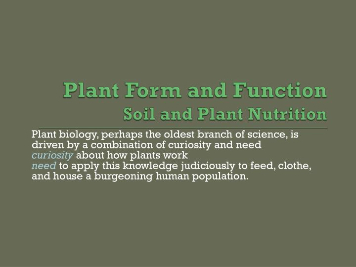 plant form and function soil and plant nutrition n.