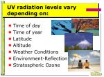 uv radiation levels vary depending on