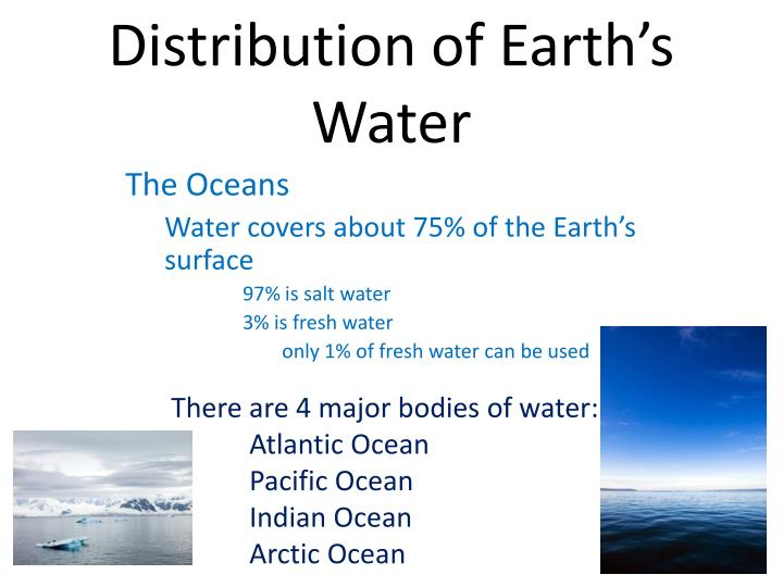 distribution of earth s water n.