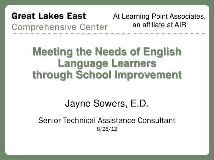 meeting the needs of english language learners through school improvement n.