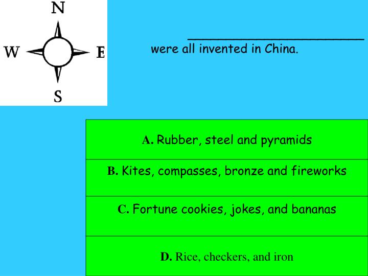 _______________________were all invented in China.