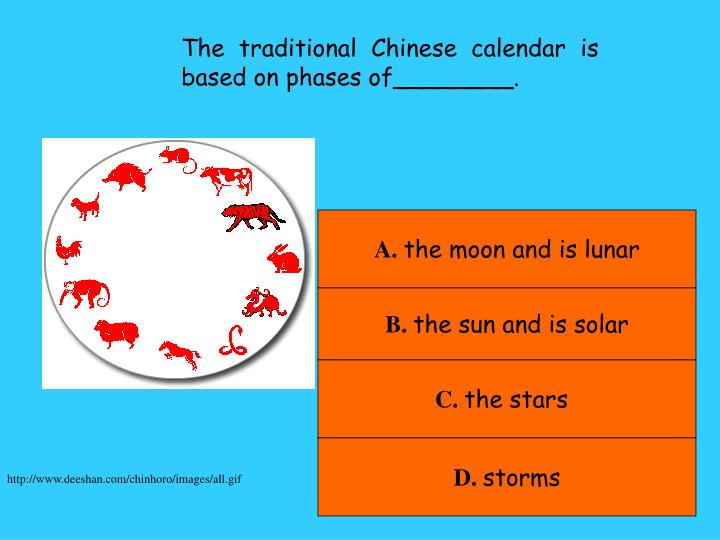 The traditional Chinese calendar is based on phases of________.