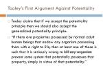tooley s first argument against potentiality