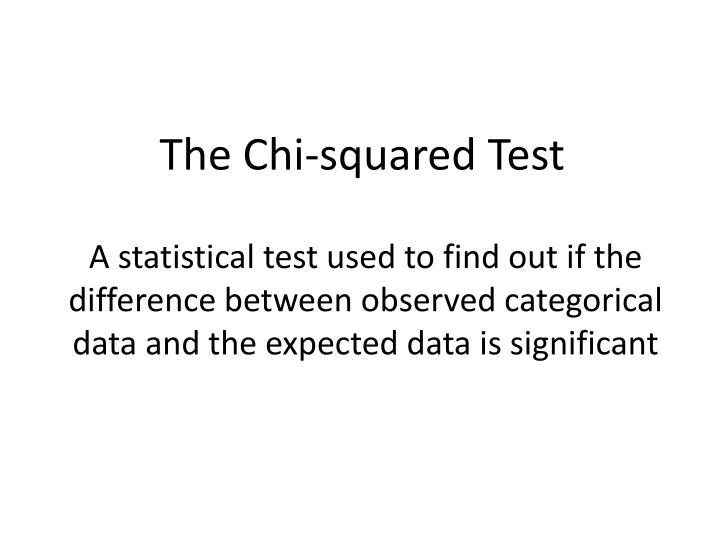 the chi squared test n.