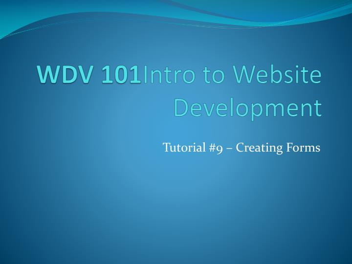 wdv 101 intro to website development n.