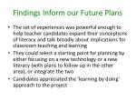 findings inform our future plans