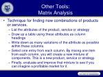 other tools matrix analysis