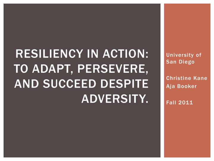 resiliency in action to adapt persevere and succeed despite adversity n.