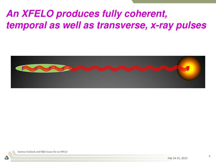 An XFELO produces fully coherent, temporal as well as transverse, x-ray pulses