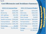 cost efficiencies and avoidance summary