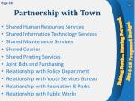 partnership with town