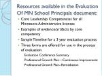 resources available in the evaluation of mn school principals document