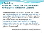 a quote from chapter 11 unwrap the priority standards write big ideas and essential questions