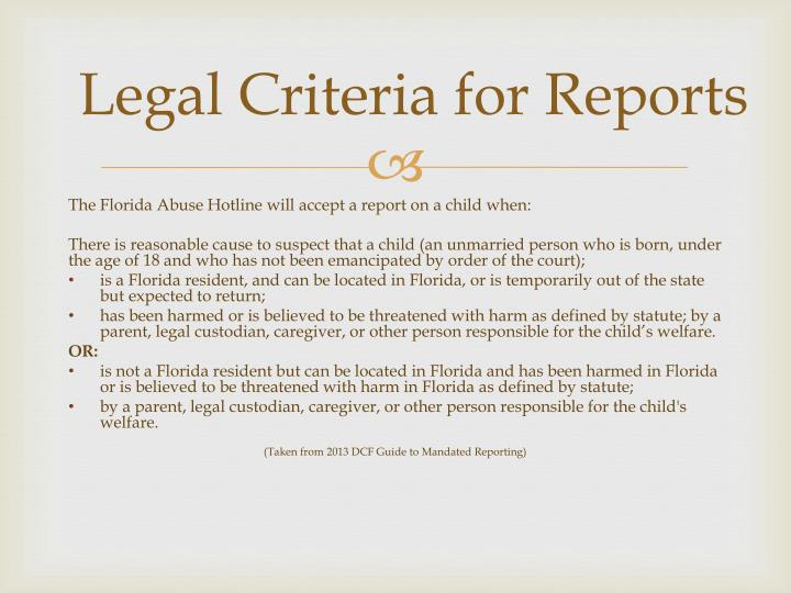 Legal Criteria for Reports