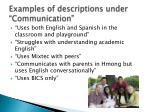 examples of descriptions under communication